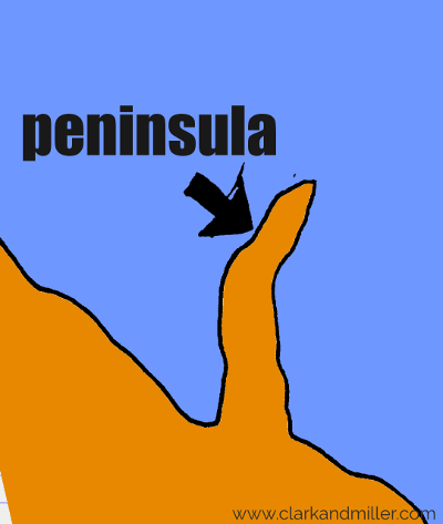 peninsula drawing with text