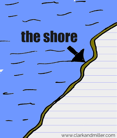 shore drawing with text