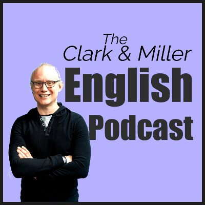 The Clark and Miller English Podcast: Smiling man on a light purple background