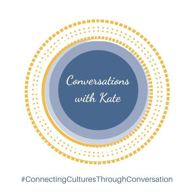 Coversations with Kate Podcast Logo: Purple circle with white text in the centre