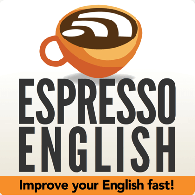 """Espresso English Podcast Logo: A coffee cup with the wifi symbol in it and the text """"improve your English fast"""" at the bottom"""