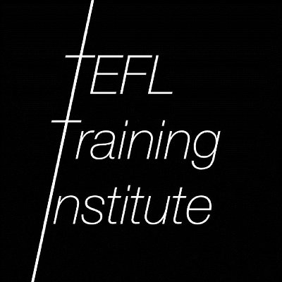 TEFL Training Institute Podcast Logo: White text on a black background with a slanted vertical line joining the first letter of each word