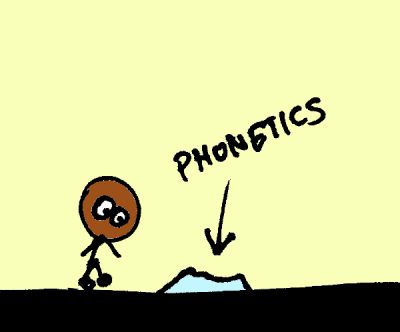 """Stick figure with a small pile of rice labelled """"phonetics"""""""