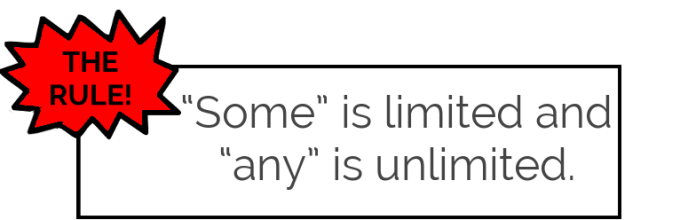 """""""Some"""" is limited, and """"any"""" is unlimited."""