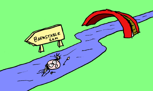 Comic of a man who has fallen into a river. There is a signpost with Barnstable 2 km nearby.