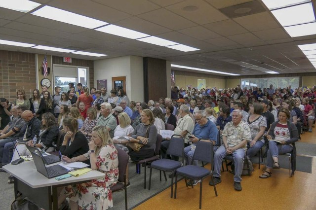 Battle Ground School District pressed pause on adopting new sexual health curriculum after this packed board meeting in July of 2018. Photo by Chris Brown