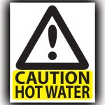 CAUTION HOT WATER Stickers