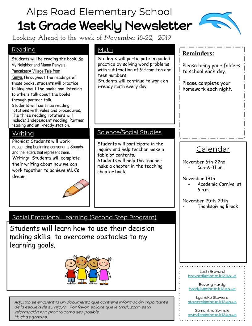 Grade Level Newsletters / Home