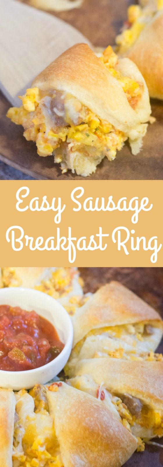A filling and delicious breakfast recipe - an easy sausage breakfast ring made with crescent rolls!