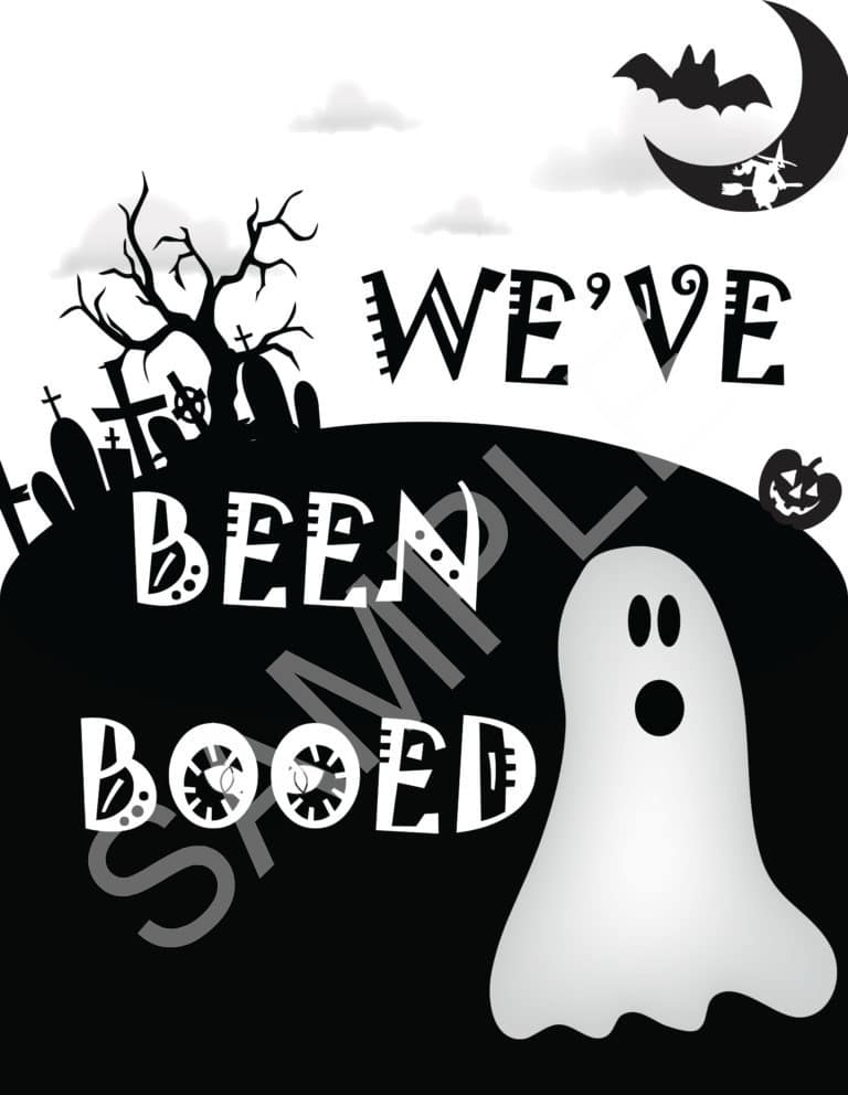 we've been booed printable black and white