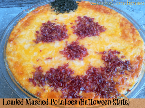 Loaded Mashed Potatoes -- pumpkin face is perfect for Halloween, but the recipe is delicious year-round