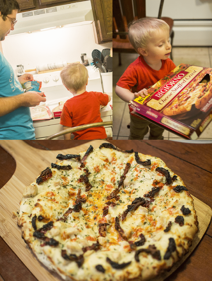 jack and I making bball pizza
