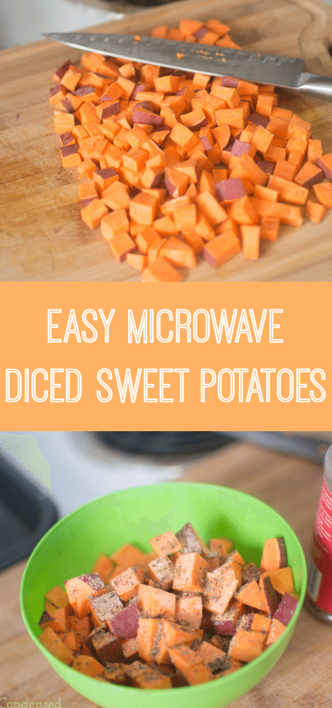 Easy mcrowave diced sweet potatoes -- seasoned with garlic, italian seasoning, and spicy seasoning, and cooked in coconut oil, these are a delicious side dish or snack