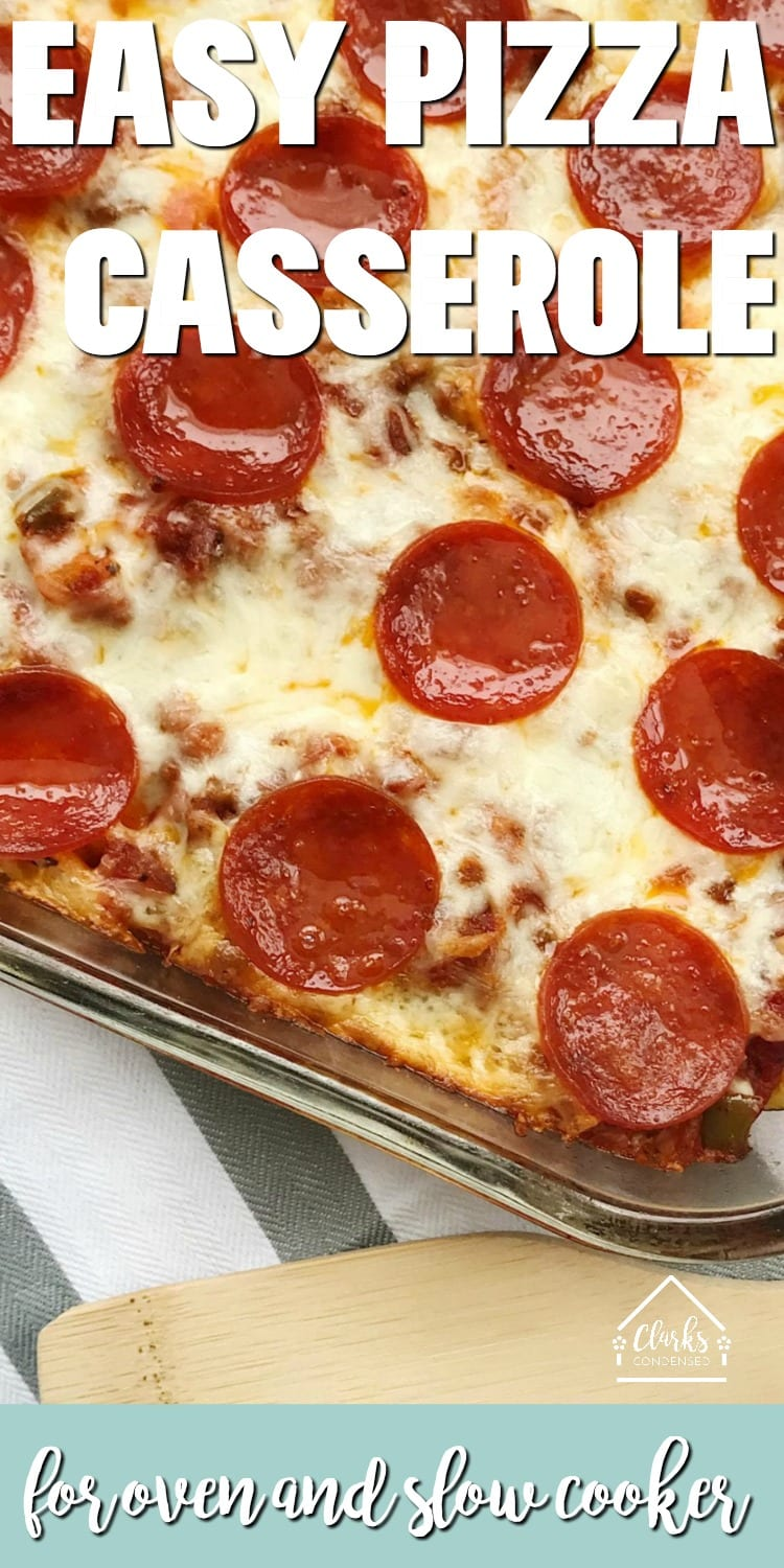 This pizza casserole recipe is a family favorite in our house hold. It's not hard to learn how to make a pasta pizza - you can make this pizza casserole with rotini noodles, penne pasta, or bow tie pasta. It is easily customizable - from being a simple hamburger pizza bake to a supreme pizza with all the fixins', this is sure to become a family favorite for you, too! This post has instructions for both an oven pizza casserole and crock pot pizza casserole. via @clarkscondensed