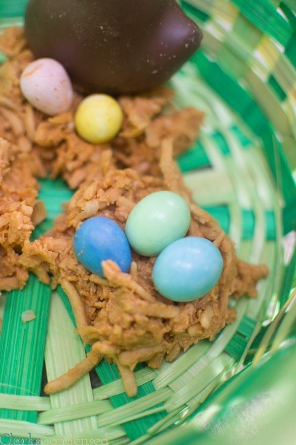 Throw away the stress of making a perfect dessert this Easter — these coconut and butterscotch bird's nests are SO easy, and pretty much everyone can enjoy them. Switch things up by using jelly beans, M&Ms, or even chocolate covered duck peeps in the nest!