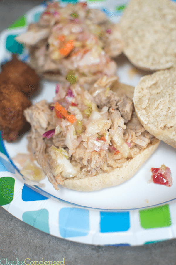 {{Slow Cooker Recipe}} This eastern carolina bbq pulled pork has the perfect amount of vinegar, heat, and sweetness. It's especially delicious when piled on top of a homemade hamburger bun, and topped with North Carolina style cole slaw.