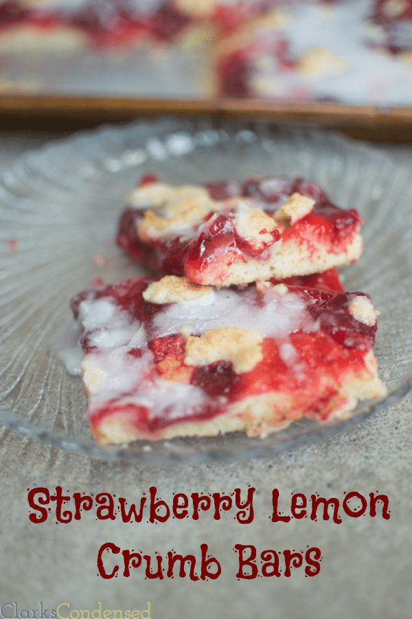 Strawberry Lemon Crumb Bars: A perfect way to kick off the spring and summer seasons. These bars have a naturally lemon flavored shortbread cookie crust, and are topped with sweet strawberry pie filing, and a lemony drizzle.