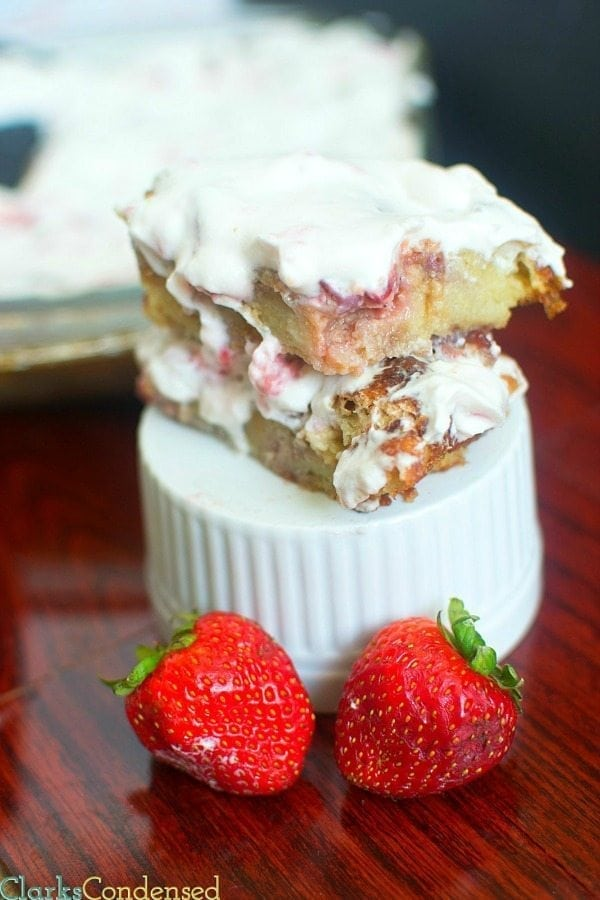 This strawberry shortcake bread pudding recipe is OUT OF THIS WORLD delicious! It's creamy, it's sweet, and it's perfect for parties. And, if you are dairy free, you can make it to with a few modifications.