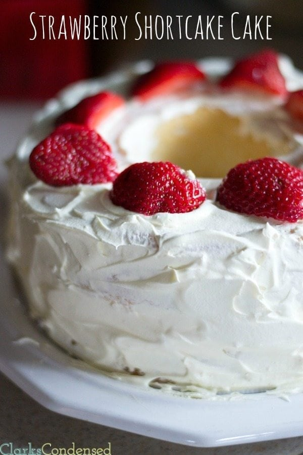 A fun twist on the classic dessert -- this easy strawberry shortcake cake comes together in minutes and is so yummy!