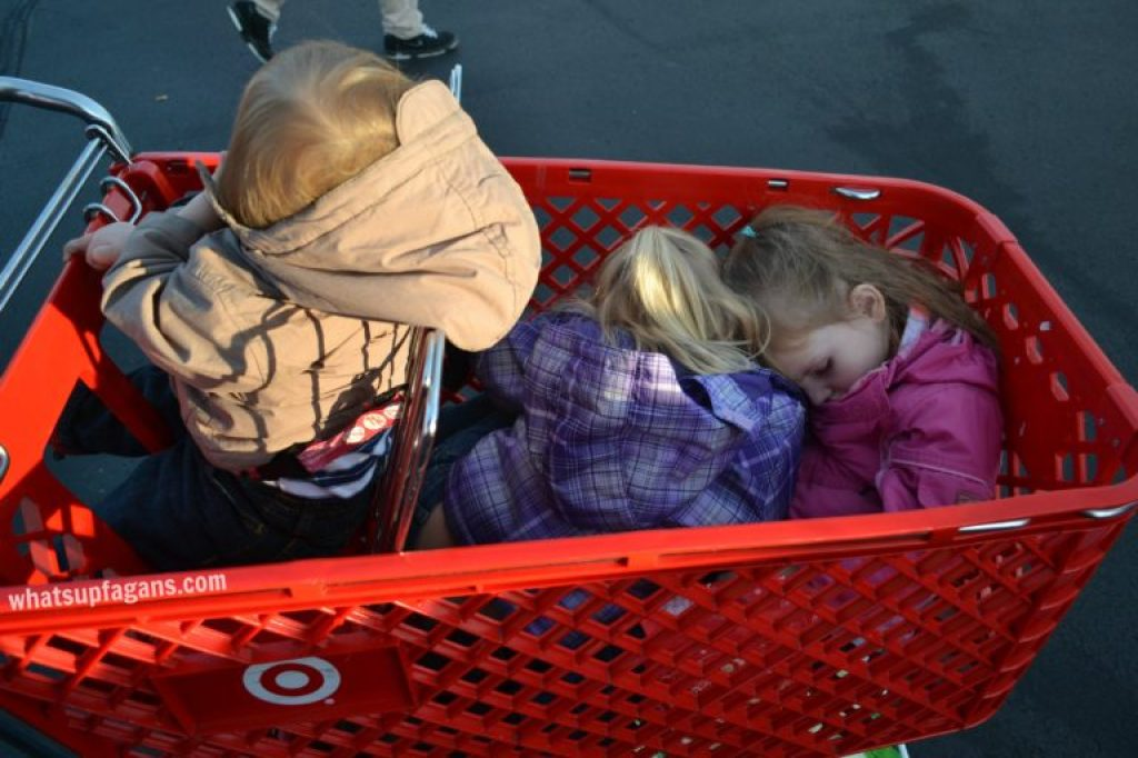 When grocery shopping, always make sure your kids stay seated in the basket!