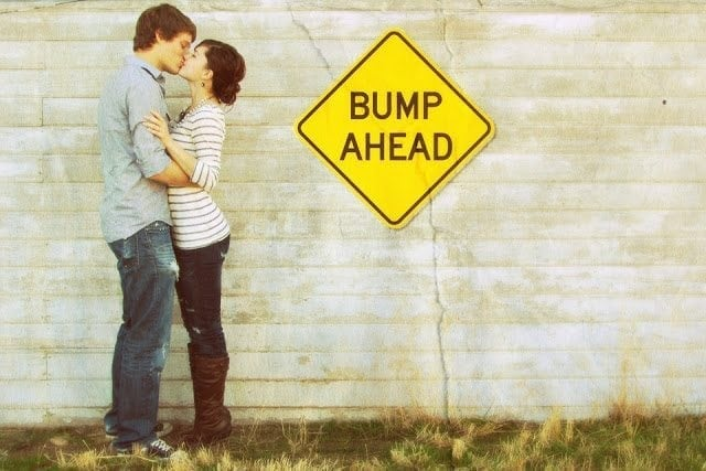 Pregnancy Announcement - Bump Ahead Road Sign