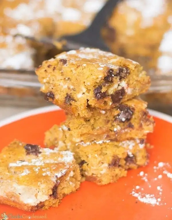 Swirled Cream Cheese Pumpkin Bars with Chocolate Chips. These are so yummy!