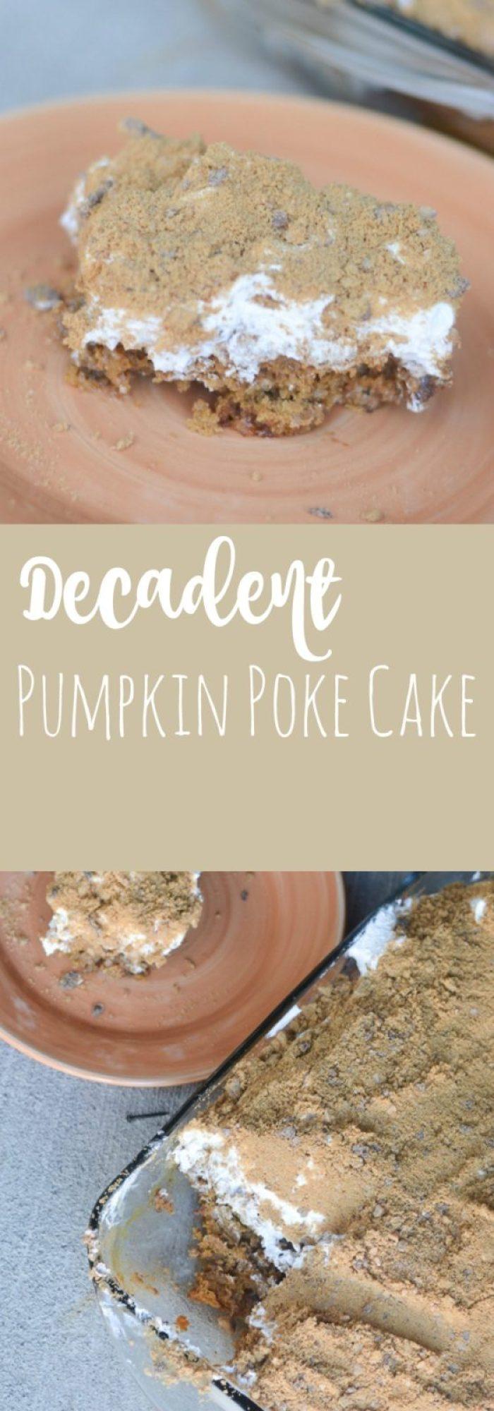 A rich, decadent butterscotch pumpkin poke cake - a delicious fall dessert that can feed a crowd!