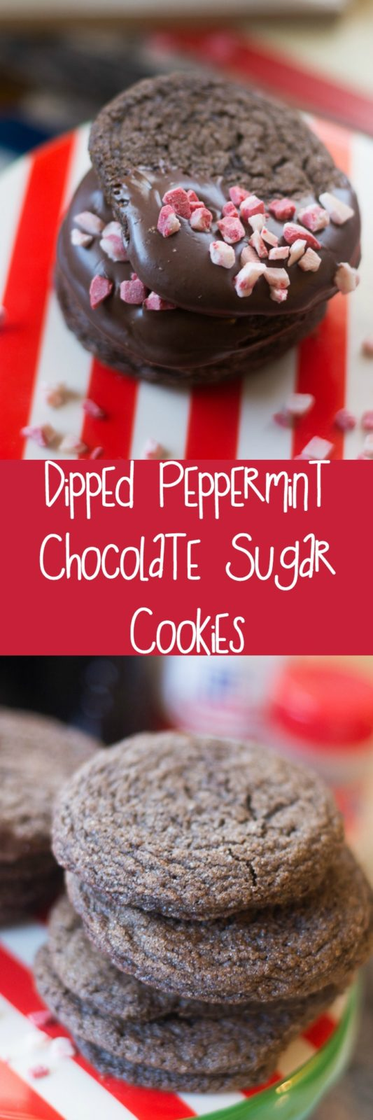 These cookies are out of this world! Dipper peppermint chocolate sugar cookies - perfect for Christmas! They are great un-dipped as well (not a fan of peppermint? Use vanilla instead!)