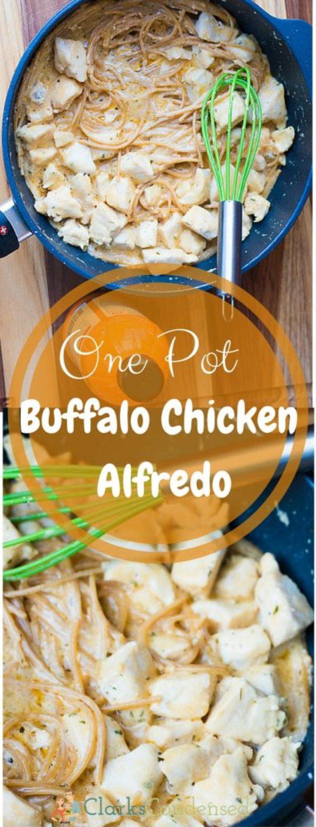 Creamy, tangy one pot buffalo chicken alfredo - so good!