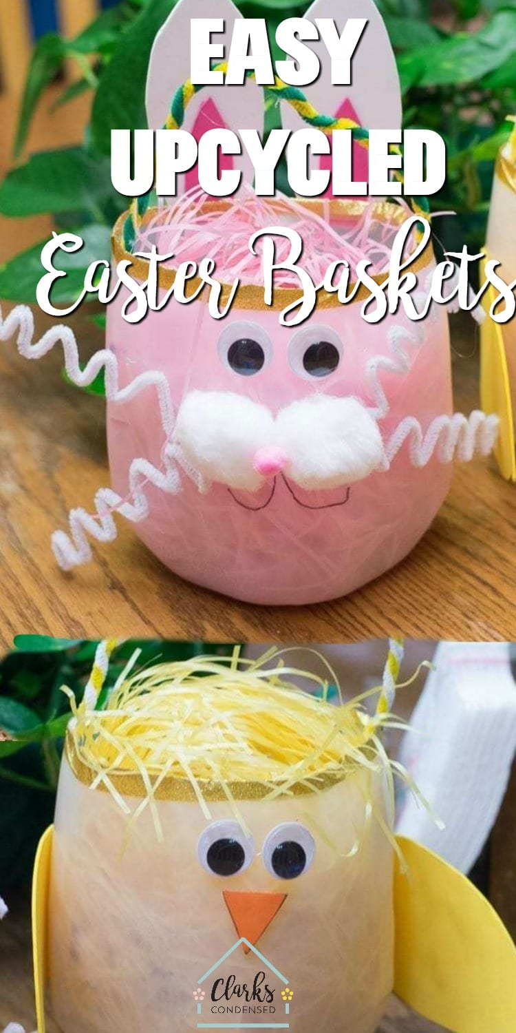 Easy DIY Easter baskets made using empty milk jugs! This is a great Easter craft for kids.  via @clarkscondensed