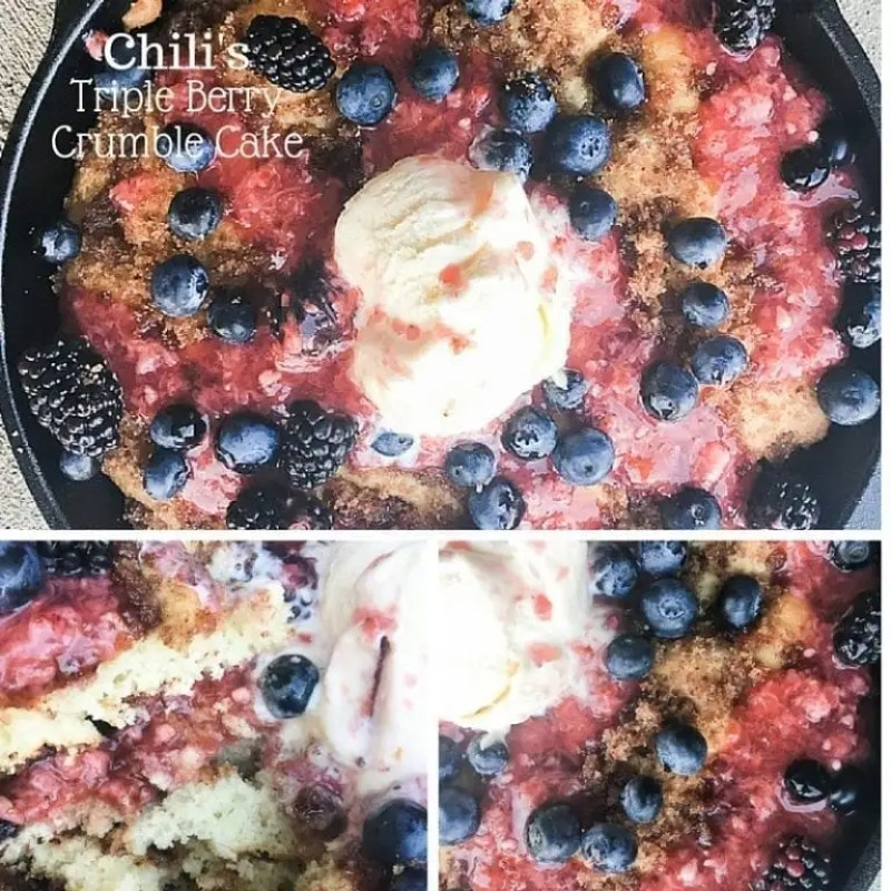 Copycat Chili's Triple Berry Crumble Cake - this is the perfect fruit based cake. It's made with a skillet coffee cake and is topped with fresh berries, including a strawberry glaze.