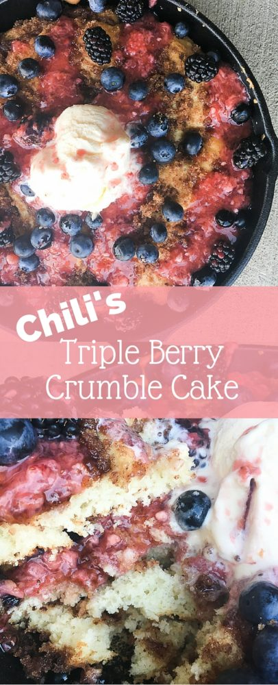 Copycat Chili's Triple Berry Crumble Cake - this is the perfect fruit based cake. It's made with a skillet coffee cake and is topped with fresh berries, including a strawberry glaze.  via @clarkscondensed