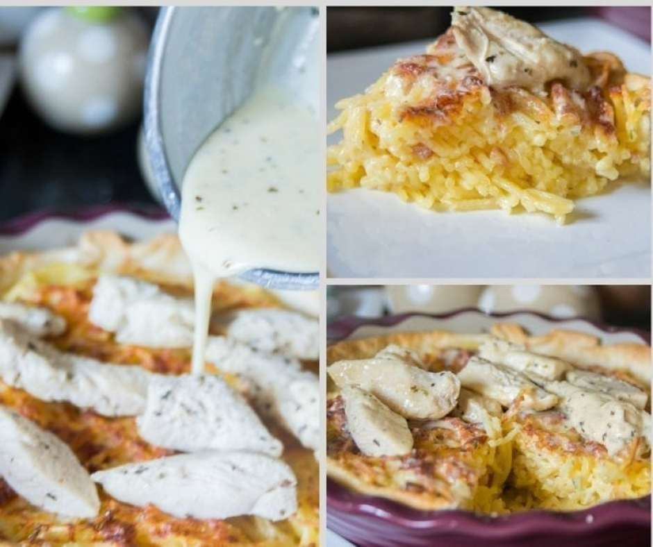 6 Dishes Health Nuts Order At Olive Garden: Copycat Olive Garden Chicken Alfredo Spaghetti Pie