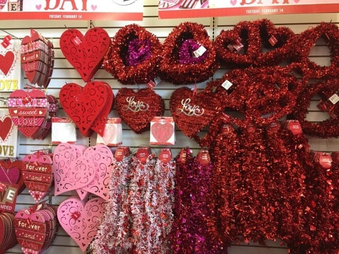 A valentines decor display in a store