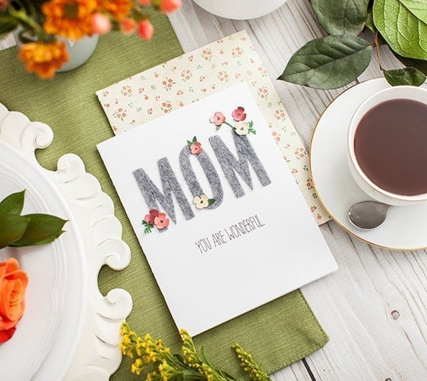 mom - you are wonderful card on a table