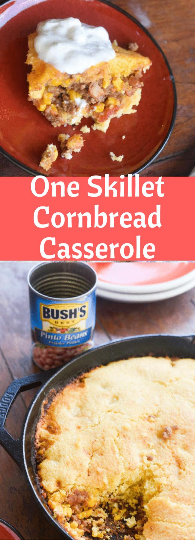 One Skillet Cornbread Casserole / Cornbread / Southwest Casserole / One Skillet Meal / One Pot Meal / Tamale Pie via @clarkscondensed
