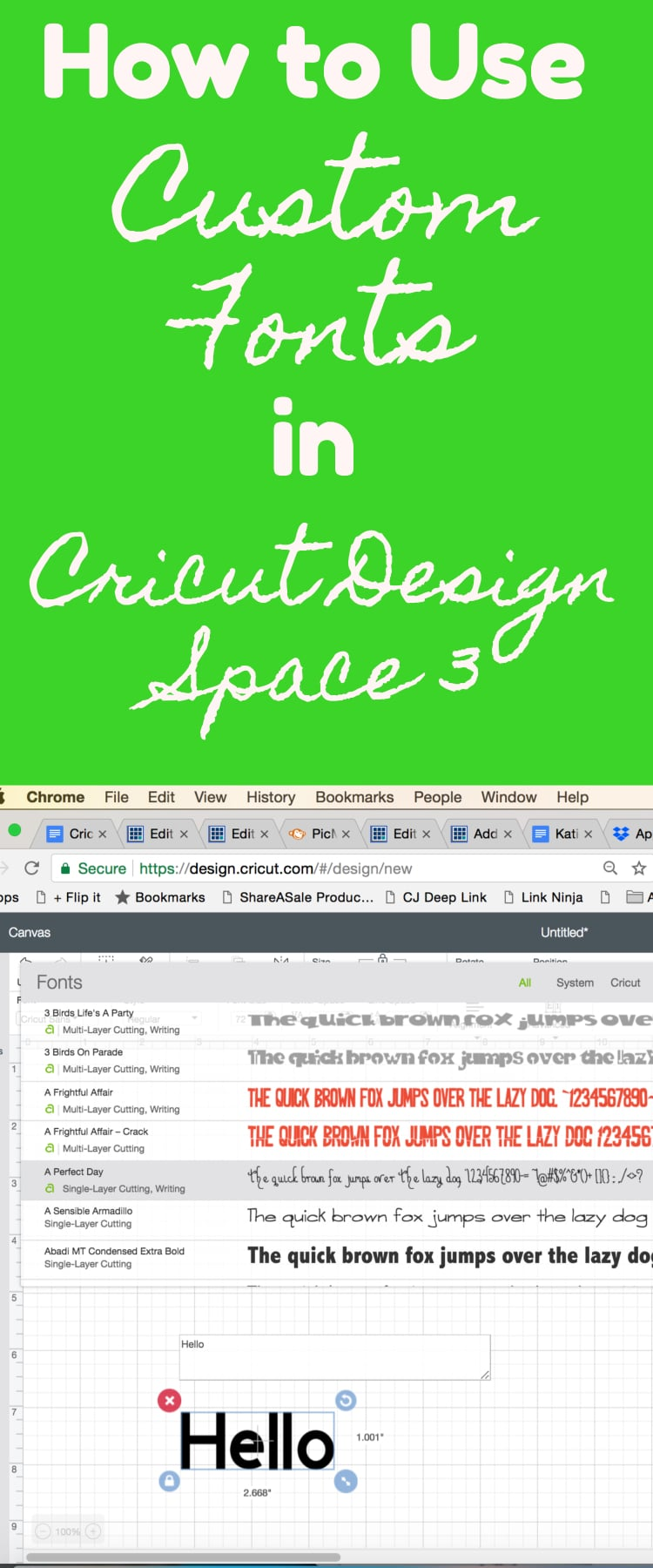 How to Use Fonts in Cricut Design Space 3 / Design Space / Cricut for beginners