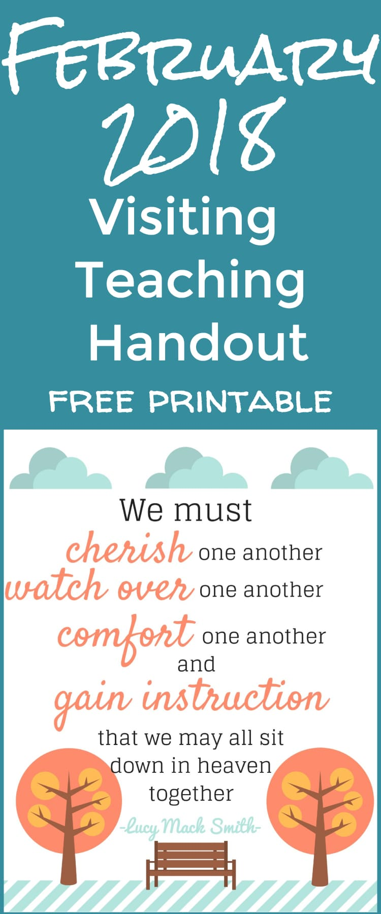 2018 visiting teaching printable / visiting teaching handout / visiting teaching ideas / lds ideas / mormon / relief society