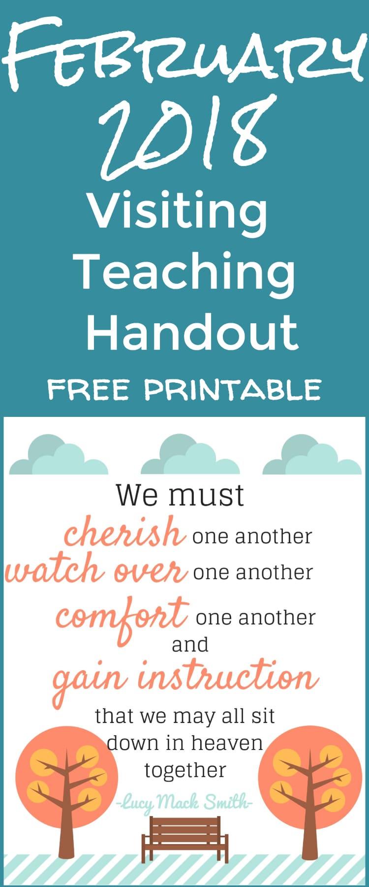2018 visiting teaching printable / visiting teaching handout / visiting teaching ideas / lds ideas / mormon / relief society