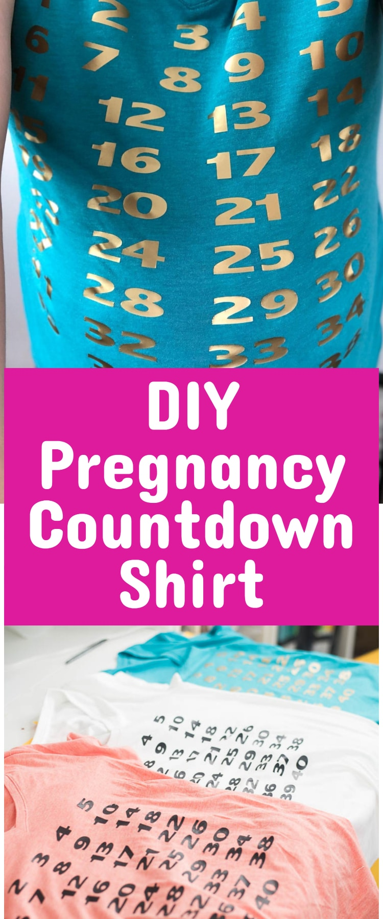 pregnancy wear / maternity clothes / pregnancy countdown / pregnancy shirts / diy / cricut maker / #Pregnant #pregnancy #cricut via @clarkscondensed