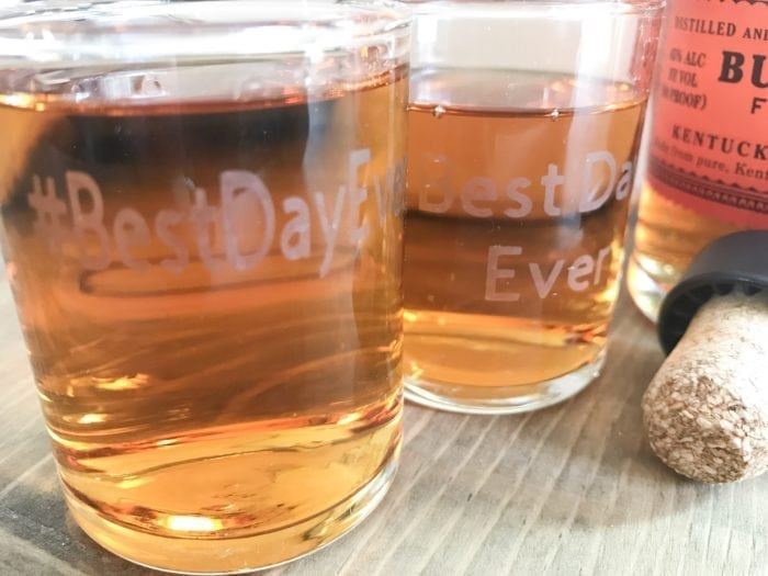 A glass of beer on a table, with Wedding and Cricut