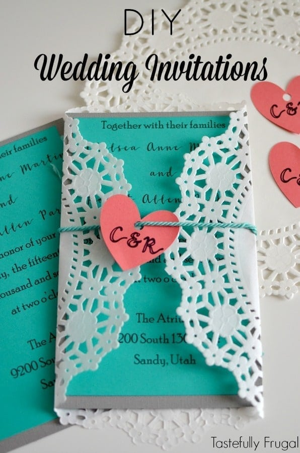 A close up of an invitation for wedding