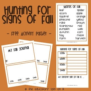 hunting for signs of fall printable