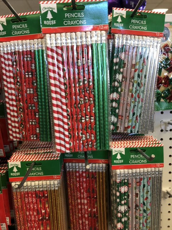 Pencils on display in a store