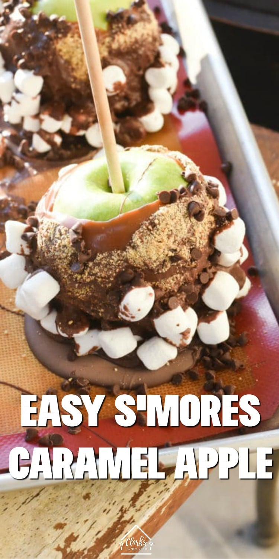 caramel apples / caramel apple recipe / dipped caramel apple / s'mores caramel apples / s'mores recipe / how to make caramel apples via @clarkscondensed