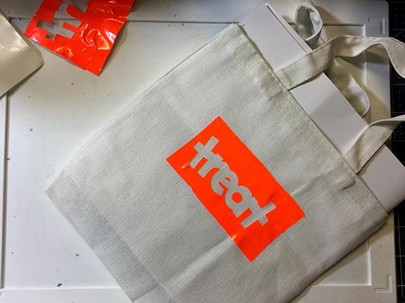 vinyl on bag