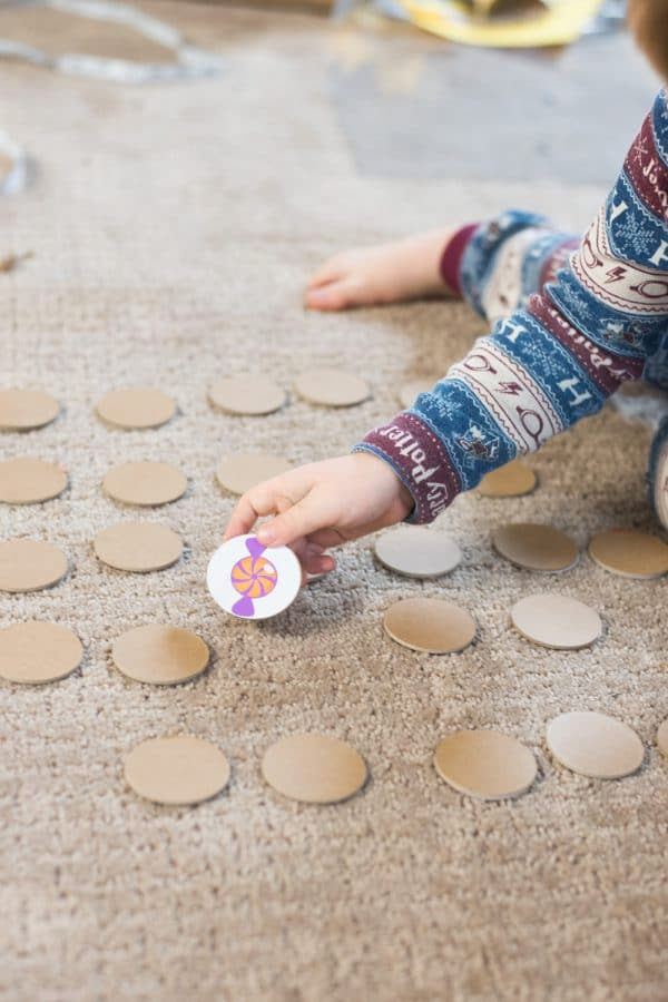 child playing matching game