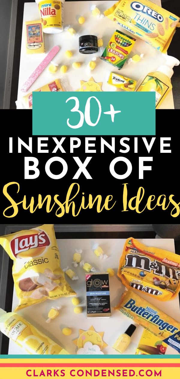 A box of Sunsine is the perfect gift to give someone who needs a little brightening in their day! Box of Sunshine Ideas / Box of Sunshine / Sunshine Box Ideas / Care package ideas via @clarkscondensed