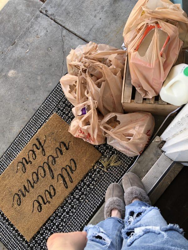 Grocery delivered on the door steps