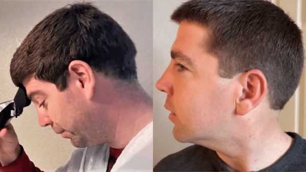 before and after picture of men's hair cut with clippers